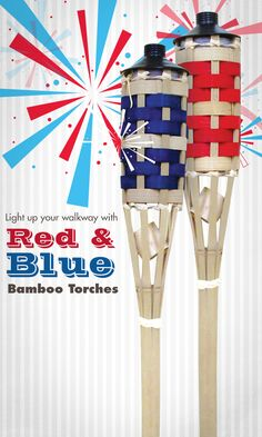 Light up your walkway with Red and Blue bamboo torches! http://www.menards.com/main/outdoors/outdoor-decor/lawn-decor/5-bamboo-torch-assorted-styles/p-1945120-c-14310.htm?utm_source=pinterestutm_medium=socialutm_campaign=4thofjuly