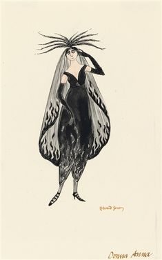"'Donna Anna'~ Costumed character illustration by Edward Gorey, for the Peter Sellars production of Mozart's ""Don Giovanni"", 1980 (New Hampshire Monadnock Music Festival). Edward Gorey, Character Illustration, Graphic Illustration, Vintage Circus, Character Costumes, Fantasy Inspiration, Fantastic Art, Illustrators, Artist"