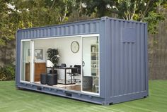 40 Foot Shipping Container Home Designs – Shipping Container US Container Home Designs, Container Buildings, Container Architecture, Architecture Design, Shipping Container House Plans, Shipping Containers, Backyard Office, Backyard House, Backyard Studio