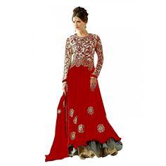 Party Wear Embroidered Georgette Red Anarkali Salwar Suit -  EBSFSK302009A ( EBSFSK30 )