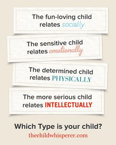 4 Types of children. When you know which Type of child you're parenting, you experience less conflict. | The Child Whisperer