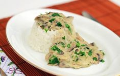 Use this dairy-free mushroom cream sauce over rice, sweet potato, or your protein of choice. It's a simple and quick way to dress up vegetables or dinner! Mushroom Cream Sauces, Mushroom Rice, Gluten Free White Sauce, Bacon Dishes, Dutch Oven Cooking, Chicken Pasta Recipes, Chicken Rice, Hungarian Recipes, Xmas Food