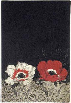 untitled flowers by Takeda  Fumiko(武田 史子) - (b. 1963),  Japanese, ふたつのアネモネ  etching ©Kagawa Gallery (Iamjapanese)