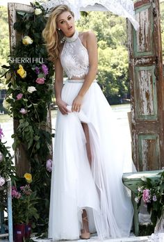 8e88b98a30c1 Elegant Ivory Two Piece Beaded Lace Halter Crop Top Evening Gown 2016  [Sherri Hill 32347 Ivory] - : Cheap Custom Prom Dresses UK,Discount Bridesmaid  Dresses ...