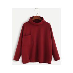 SheIn(sheinside) Burgundy Turtleneck Drop Shoulder Pocket T-shirt (1.085 RUB) ❤ liked on Polyvore featuring tops, t-shirts, burgundy, long sleeve stretch t shirt, long sleeve tops, red t shirt, pocket tees and high neck t shirt