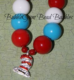 Dr Seuss Cat in the Hat chunky necklace by hudsonshideaway on Etsy, $20.50