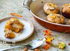 """This is a very easy pudding. It's simple and rustic, it's hot and sweet. Mix up our almond topping, known as a frangipane, spread it over half a peach and roast. The result is individual little puds that look like muffins or mini peach cobblers with soft """"peachy bottoms"""". They have a crumbly cake layer in the middle with a smooth, crunchy golden top - """"like an amaretti biscuit"""" said our Italian friend Stephanie."""