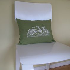 Tandem BIke Pillow Cover Cushion Cover  by SweetnatureDesigns, $26.00