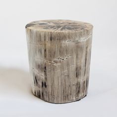 Solid and organic petrified wood stool or side table. This incredible piece is made from unique fossilized tree trunks that have been transitioned into a stone like material after being buried in sediment for an extended period of time without oxygen. Each piece is unique with wood all natural grain pattern and shape. Beautifully polished. These heavy pieces are wonderful used in any space.