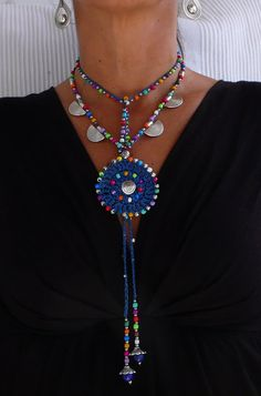 Collar azul de boho étnico MANDALA CROCHET collar por PanoParaTanto