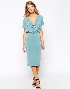 ASOS Bodycon Crepe Dress with Drape Cowl Neck