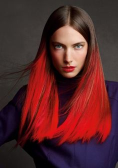 Coupe longue tie & dye rouge