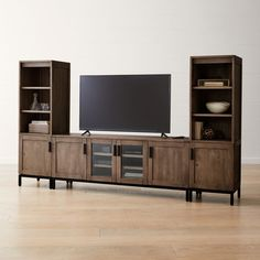 Sale ends soon. Shop Wyatt Grey Media Console with 2 Media Towers. Open shelves park electronic gear front and center while flanking cabinets square away DVDs, games, controllers and remotes on one removable shelf. Open Shelving, Adjustable Shelving, Media Storage Tower, Home Tv Stand, Tv Stand Shelves, Entertainment Center Makeover, Entertainment Centers, Cool Tv Stands, Console Cabinet