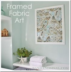 Framed Fabric Art     from a shower curtain.  So, I'm not the only one who has made wall decor from a shower curtain.