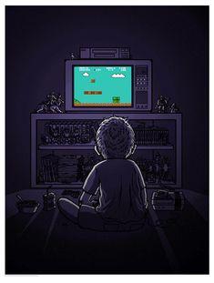child nintendo late night gaming gif 1980s 1987 super mario luigi