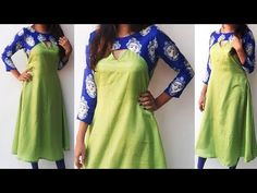DIY Designer Kurti Cutting And Stitching Full Tutorial Churidar Neck Designs, Kurta Neck Design, Kurta Designs Women, Salwar Designs, Saree Blouse Designs, Neckline Designs, Dress Neck Designs, Designs For Dresses, Kurti Patterns