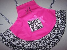 Adult Apron Hot Pink with Black White by SewAdorableHandmade, $30.00