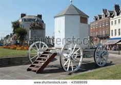 vintage changing hut / bathing machine in Weymouth, Dorset (England ...