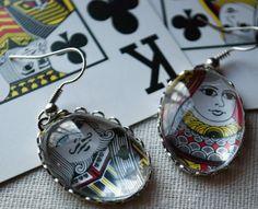 What a cute earring idea! ~ King and Queen Poker Gambling Casino Lucky Night