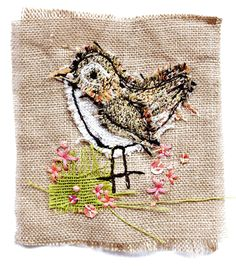 mini wren, textile art by sarah dodd (lotus blossom)