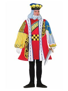 King of hearts costume playing card costume by forum novelties 76831 Funny Costumes, Adult Costumes, Halloween Costumes, Royal Costumes, Men's Costumes, Group Costumes, Halloween 2017, Casino Night Party, Casino Theme Parties