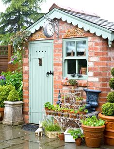 backyard shed diy - Best Backyard Shed Ideas - wintergarten Cottage Garden Sheds, Small Cottage Garden Ideas, Brick Shed, Salons Cosy, Backyard Sheds, Shed Design, Small Garden Design, Diy Shed, Garden Stones