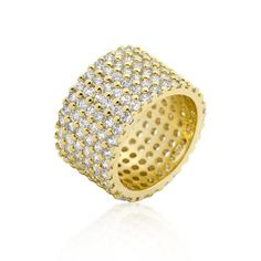 14k Gold Rhodium Bonded Wide Pave Cubic Zirconia Ring with Stacked Round Cut Clear Cubic Zirconia in Goldtone. This glamorous Wide Pave Cubic Zirconia Ring features beautiful rows of sparkling stones in a wide rim design.