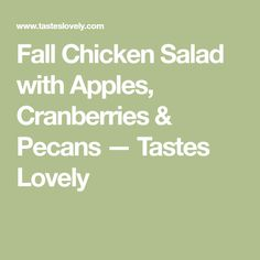 Fall Chicken Salad with Apples, Cranberries & Pecans — Tastes Lovely
