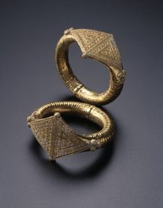 Pair of Bracelets Syria or Egypt 11th century  Gold, fabricated from sheet, decorated with wire, granulation, and repoussé
