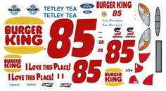#85 Ron Bouchard Burger King FORD 1/64th HO Scale Slot Car Waterslide Decals #TRACKSIDE