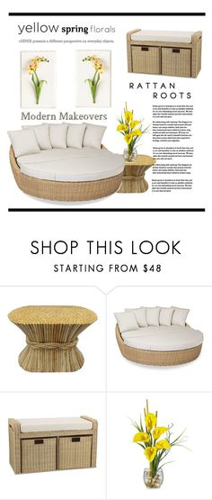 """""""Modern Makeover with Spring Florals"""" by conch-lady ❤ liked on Polyvore featuring interior, interiors, interior design, home, home decor, interior decorating, Sunset West, Household Essentials, Tommy Mitchell and modern"""