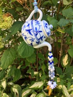 Blue White Tea Pot Ornament, Tea Pot Kitchen Decoration, Garden Decor, Tea Party, Upcycled Repurposed, Kitchen Art, Window Charm, Tea Lover Tea Pots, Window Charm, Beaded Candle, Gift Tea, White Tea, Whimsical Decor, Tea Party Decorations, Wind Chimes, Blue And White