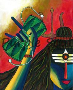 Shiva playing the Dumroo. Art Print by Purple Soul - X-Small Lord Shiva Painting, Ganesha Painting, Buddha Painting, Shiva Art, Krishna Art, Shiva Shakti, Dance Paintings, Indian Art Paintings, Indian Contemporary Art