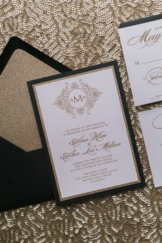 ABIGAIL Suite Fancy Glitter Package, black tie wedding invitation with monogram, black and gold, gold glitter