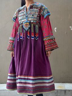 Gypsy Afghani tribal dress green maxi beaded with by Faerymother