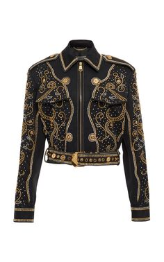 a96ef42dc6481 Versace Spring 2018 Ready-to-Wear Collection Photos (Stud-Embellished Jacket )