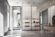 """houseandhomme: """" {David Chipperfield's design for Valentino's flagship store in Rome, continues the same vernacular as the previous stores, but enhances it with new materials and techniques. The store spans several interconnected buildings, but the. Boutique Interior, Shop Interior Design, Retail Design, Store Design, Design Design, Bathroom Red, Bathroom Interior, Red Bathrooms, Valentino Store"""