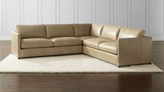 Dryden Leather 3-Piece Sectional with Nailheads | Crate and Barrel