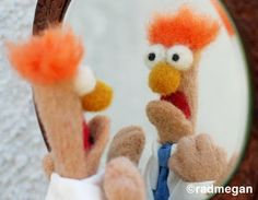 needle felt beaker - what amazing nerdery -- OMG she did a Kermit too.  ADORABLE!! #Muppets