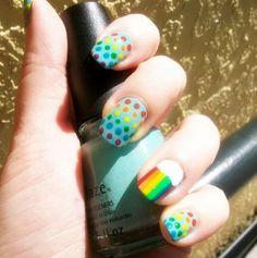 Rainbow nail stripes and dots