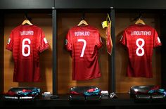 Portuguese shirts hang in the dressing room before the Group G match against Germany