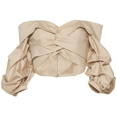 Johanna Ortiz     Mestizo Off-The-Shoulder Puff Sleeve Top (€710) ❤ liked on Polyvore featuring tops, crop top, shirts, tan, off-shoulder crop tops, shirt crop top, tan top and tan shirt
