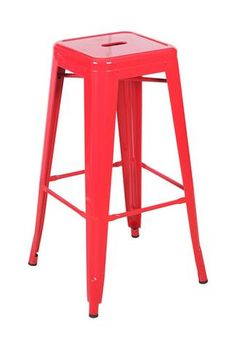 Linon Red Square Metal Backless Bar Stool - Set of 2 - Brighten up with the Linon Red Square 30 in. Metal Backless Bar Stool - Set of Crafted with durable heavy-duty metal frames in a glossy red finish&. Red Bar Stools, Metal Counter Stools, Metal Stool, Office Star, Backless Bar Stools, Retro Diner, Country Curtains, Home Accessories, Furniture Ideas