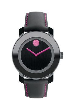 Movado 'Bold' Round Leather Strap Watch (Special Edition - Breast Cancer Awareness) #Nordstrom #PickPink Part of the proceeds from the sale of this watch will be given to the Breast Cancer Research Foundation #BCA