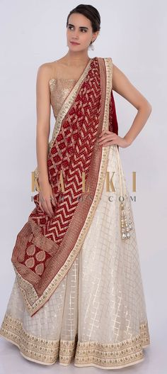 Off white organza lehenga with lace checks motif. It has waist and hem line adorn with zari and sequins floral embroidery. Lehenga Dupatta, Bridal Lehenga Choli, Lehenga Skirt, Anarkali Gown, Lehenga Blouse, Sharara, Saree Wedding, Sarees, Indian Bridal Outfits