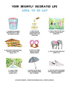 Evelyn Henson April to-do list