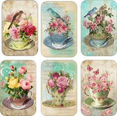 Vintage Tea Cup Flowers Tags Scrapbooking Crafts Set 6 with or Without Ribbon | eBay
