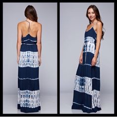 Tie Dye Navy White Maxi Dress with T Open Back Absolutely stunning maxi dress! Tie dye navy and white with waist tie. Sexy t style back. Brand new. S M L. Limited quantity! Very for love and lemons esque! Must have for this upcoming warm seasons! Love Stitch Dresses Maxi