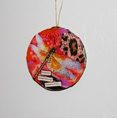 "Holiday Ornament, round, Inspirational Art Dragonfly Decor ""Create Something Beautiful"". $24.00, via Etsy."