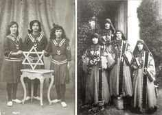 Jews and Christians of the Ottoman Empire inside her traditional Costume. Jews with Magen David in 1918 and Christian Nuns in 1910.